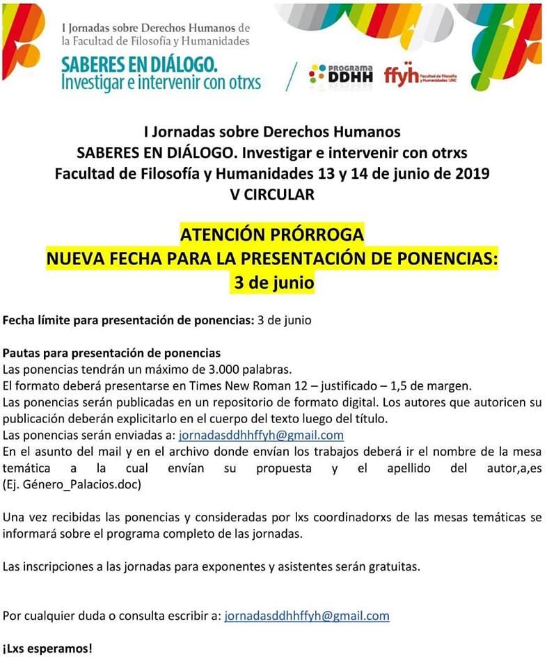I Jornadas sobre  Derechos Humanos Saberes en Diálogo Investigar e Intervenir con Otrxs